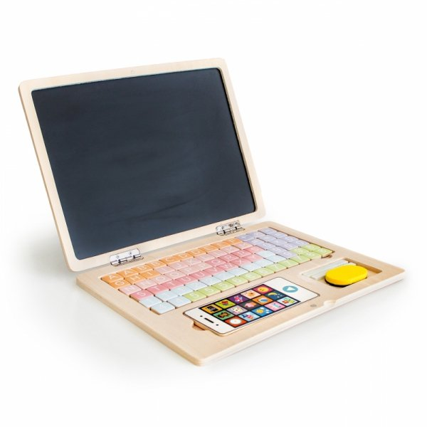 Drewniany laptop edukacyjny tablica magnetyczna Ecotoys