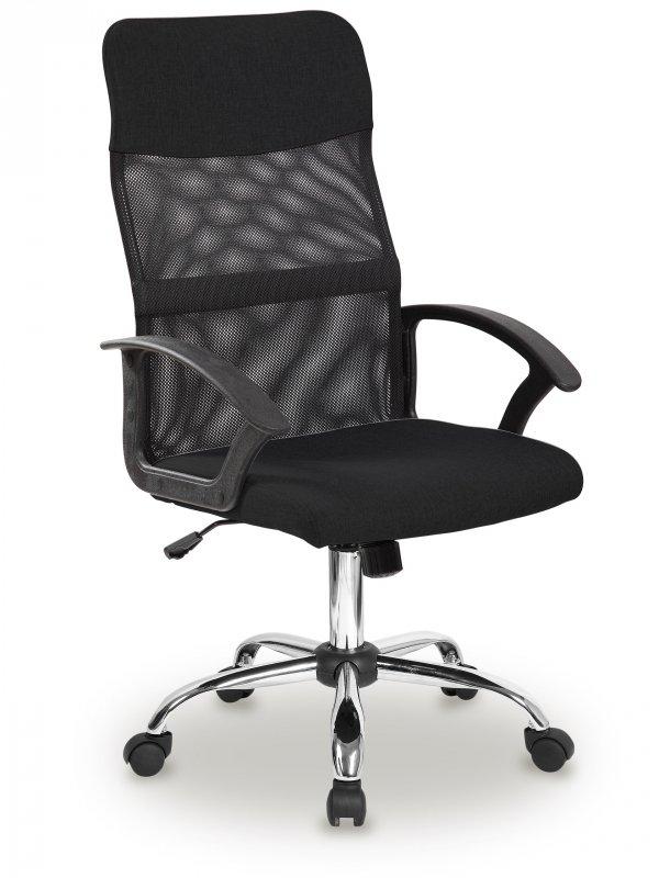 Fotel biurowy obrotowy oparcie siateczkowe czarny