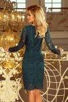 Sukienka koronkowa z długim rękawkiem i Dekoltem - Zielona - numoco 170-3