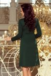 Sukienka trapezowa z wiązaniem pod szyją Ola - Zieleń Butelkowa - numoco 158-3
