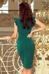 Sukienka z dekoltem i falbankami Megan - Zieleń Butelkowa - numoco 227-1