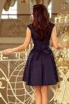 Sukienka z okrągłym dekoltem i koronką Flora - Granatowa - numoco 244-2
