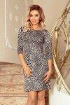 Sukienka z rękawkiem i trapezową spódnicą - wzór: panterka -numoco  88-19
