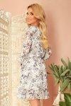 Bakari zwiewna szyfonowa sukienka z dekoltem - KWIATY na jasnym tle - 6