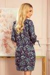 SOPHIE Wygodna sukienka Oversize - Miętowe liście na ciemnym tle - 4