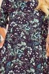 SOPHIE Wygodna sukienka Oversize - Miętowe liście na ciemnym tle - 5