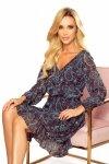 Bakari zwiewna szyfonowa sukienka z dekoltem - Turkusowy wzór-7