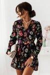 Sukienka Salma - kwiaty na czarnym tle - 1