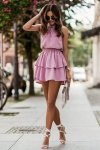Komplet Costa - bluzka i spódnica z falbanami - różowy_3