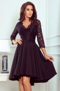 Sukienka z dłuższym tyłem z koronkowym dekoltem Nicolle - Czarna - numoco 210-10