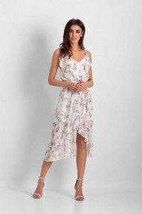 Szyfonowa asymetryczna sukienka Chantal - Białe Kwiaty - StreetStyle 647