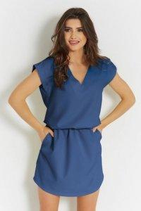 Luźna sukienka o prostym kroju Lena - Niebieska - StreetStyle 737