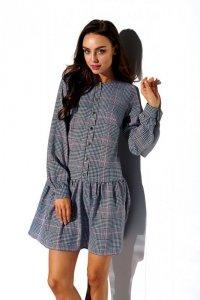 Koszulowa sukienka z falbaną i guziczkami -StreetStyle L311