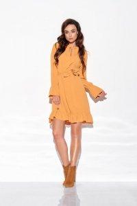 Sukienka z falbanką i wiązaniem przy szyi kolory - StreetStyle L317