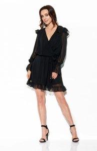 Szyfonowa sukienka z jedwabiem i kopertowym dekoltem kolor -StreetStyle  L324
