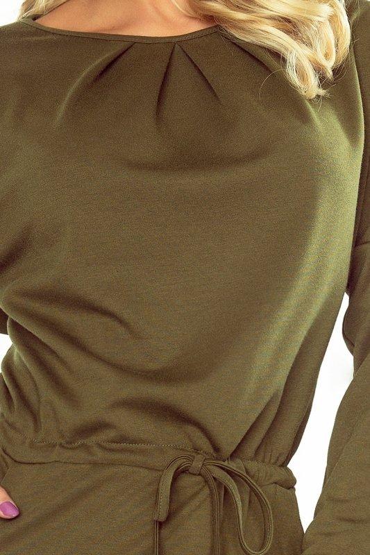 183-1 IZA Sukienka z trzema zakładkami pod szyją i długim rękawkiem - KHAKI