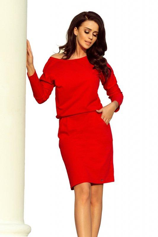 Sukienka dresowa z dekoltem na plecach - Czerwona - numoco 189-4