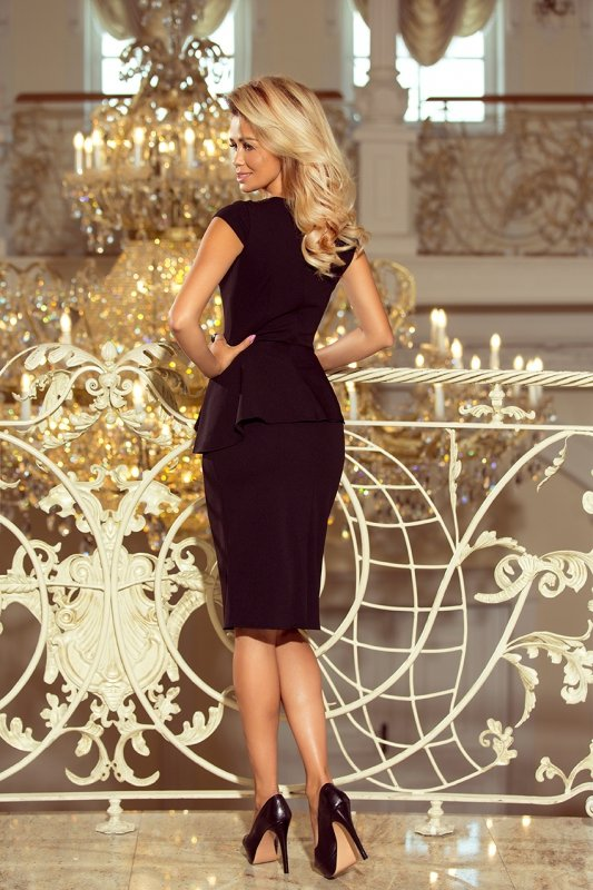 Elegancka sukienka MIDI z baskinką - Czarna - numoco 192-3