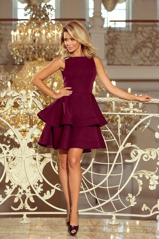 Sukienka rozkloszowana  Cristina - Bordowa - numoco 169-7