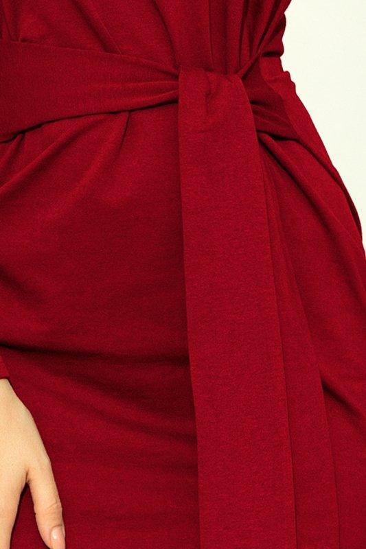 Sukienka z szerokim wiązanym paskiem - Bordowa - numoco 209-3