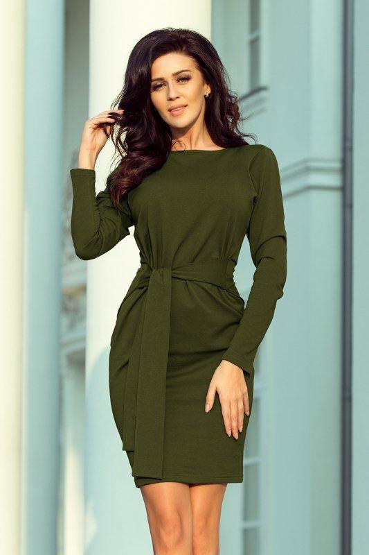 Sukienka z szerokim wiązanym Paskiem  - Khaki - numoco  209-5