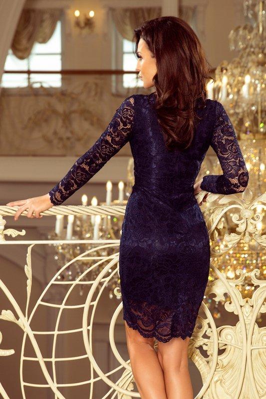 Koronkowa sukienka z długim rękawkiem i Dekoltem - Granatowa - numoco 170-7