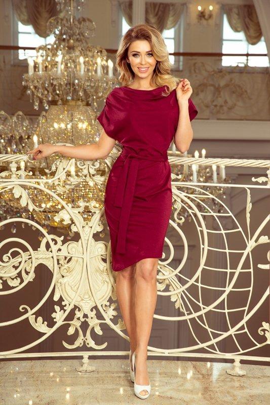Sukienka z asymetryczną spódnicą i paskiem Roxi - Bordowa - numoco 240-2