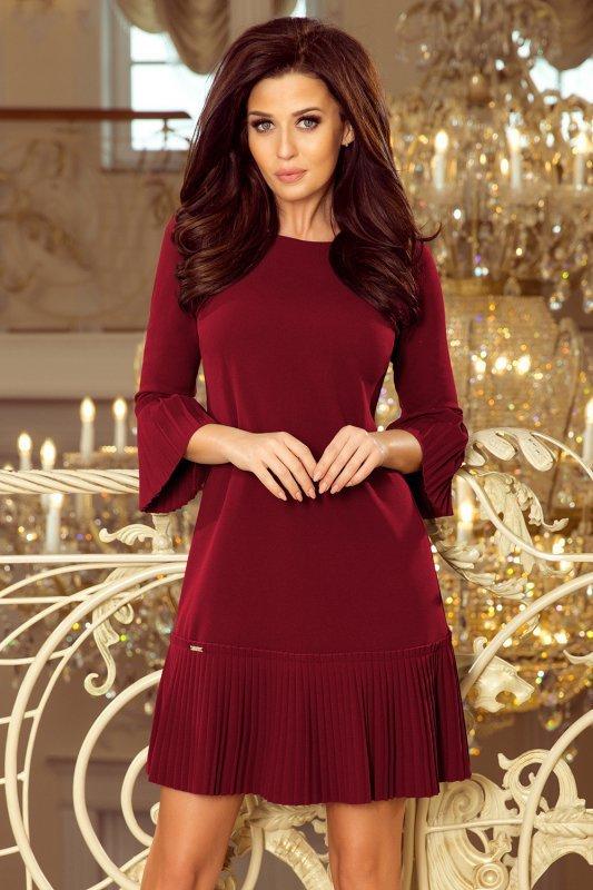 Plisowana wygodna sukienka Lucy - Bordowa - numoco 228-4