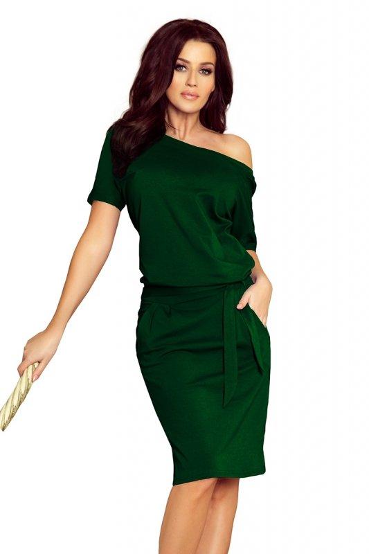 Sukienka z krótkim rękawkiem Cassie - Zieleń Butelkowa - numoco 249-2