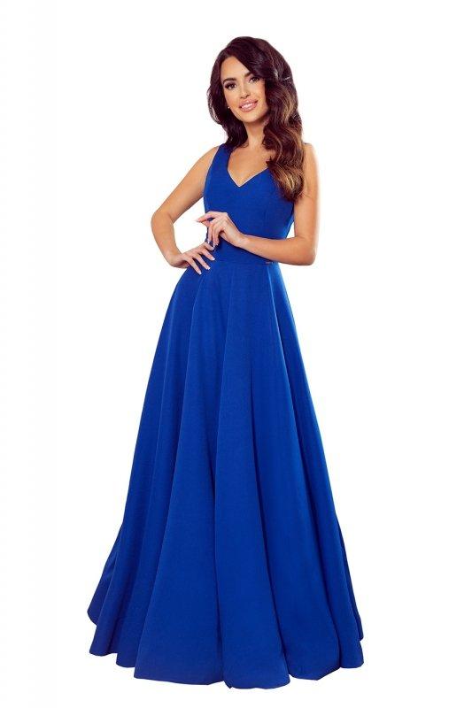 Długa suknia z dekoltem Cindy - Chabrowa - numoco 246-3