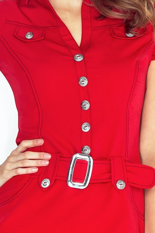 142-4 Sukienka szmizjerka z guzikami - CZERWONA