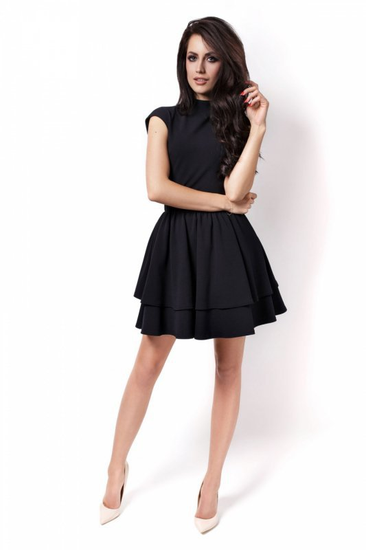 Rozkloszowana sukienka Sandra - Czarna - Ivon