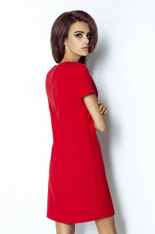 Trapezowa sukienka Matilda - Czerwona - StreetStyle 217