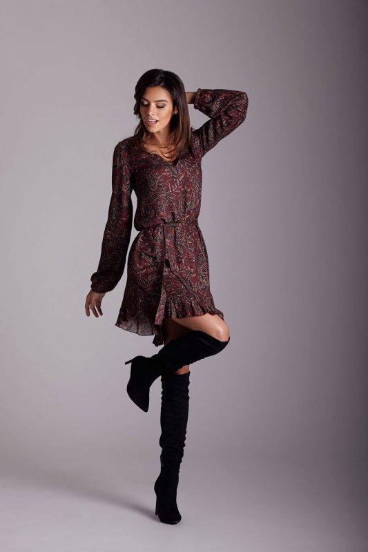 Sukienka w stylu boho - Masha - wzór bordo - Ivon