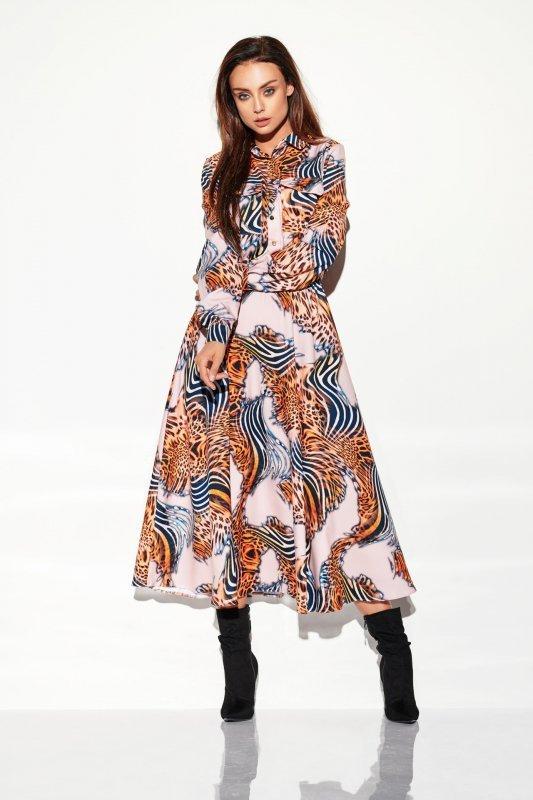 Sukienka szmizjerka maxi wzory - StreetStyle LG503 - druk 11
