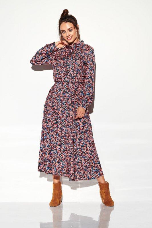 Sukienka szmizjerka maxi wzory - StreetStyle LG503 - druk 10