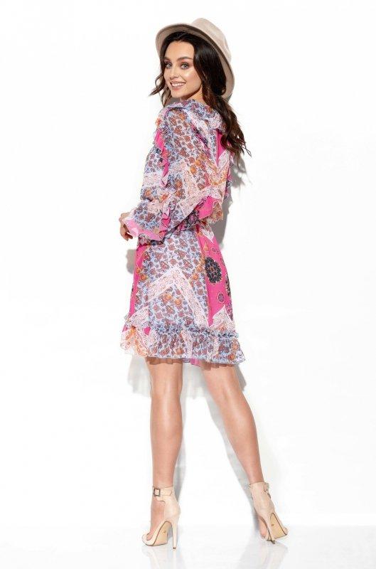 Szyfonowa sukienka z jedwabiem i falbankami wzór - StreetStyle LG517- druk 16