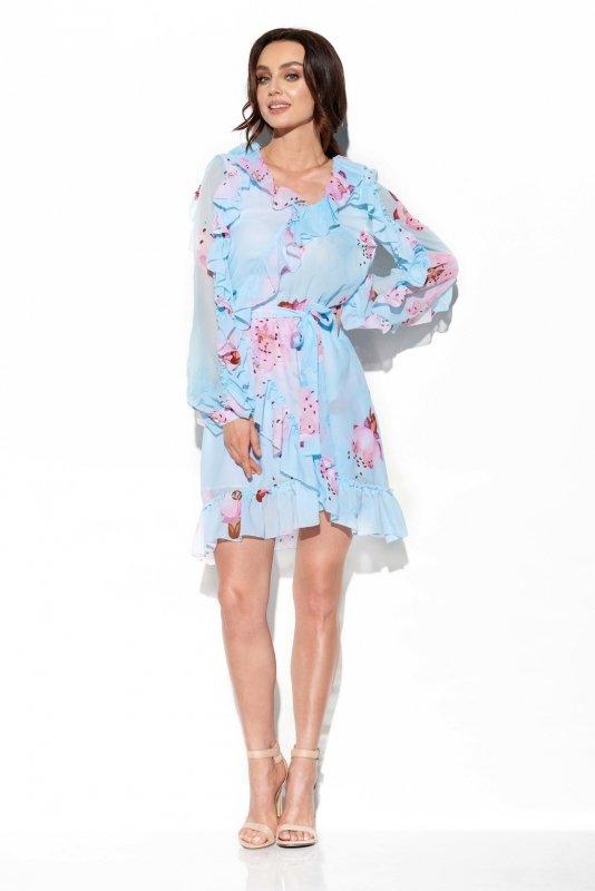 Szyfonowa sukienka z jedwabiem i falbankami wzór - StreetStyle LG517- druk 18