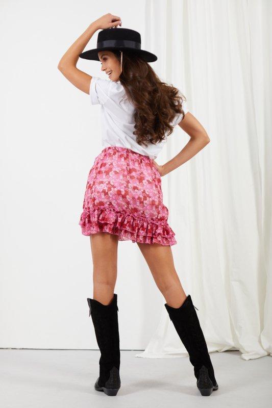 Krótka spódniczka z jedwabiem i falbanami -StreetStyle LG520 - druk 18