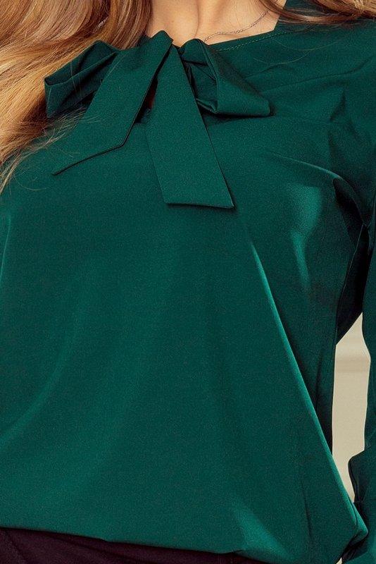 Bluzka z wiązaniem z przodu - Zielony Butelkowy - numoco 140-9
