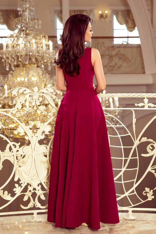Długa suknia z dekoltem Cindy - Bordowa