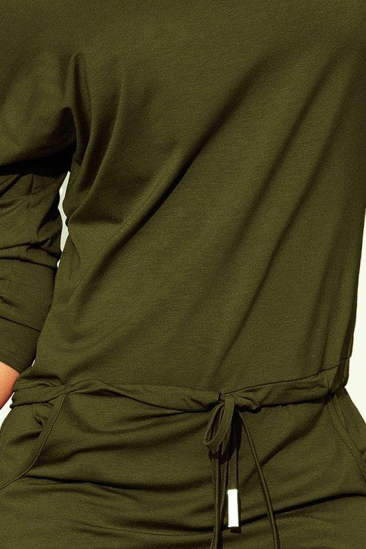 Sukienka sportowa z kieszonkami - wiskoza Khaki