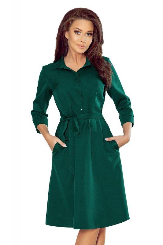 Koszulowa rozkloszowana sukienka Sandy - Zieleń Butelkowa