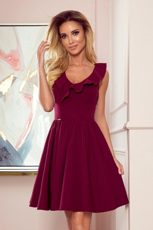 Sukienka z falbankami na dekolcie Pola- Bordowa