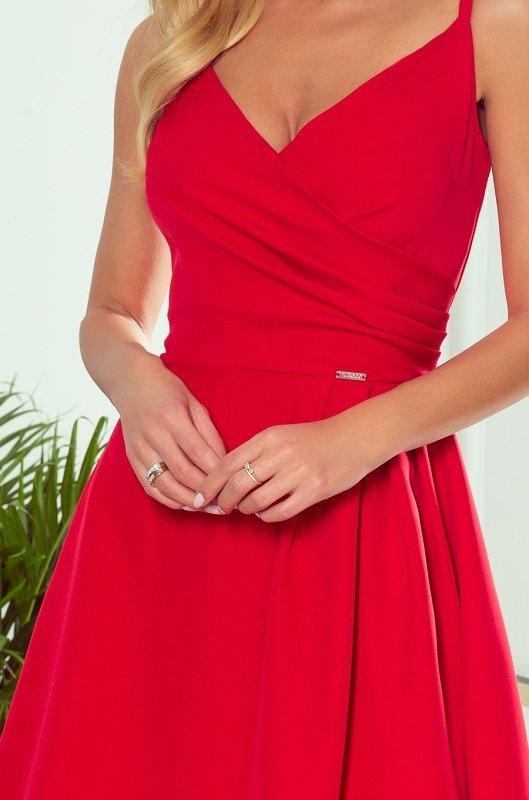 CHIARA elegancka maxi suknia na ramiączkach - CZERWONA  - 5
