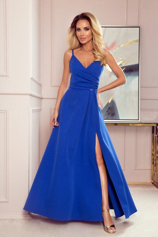 CHIARA elegancka maxi suknia na ramiączkach - CHABROWA - 1