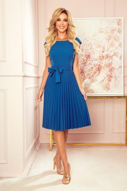 LILA Plisowana sukienka z krótkim rękawkiem - kolor Morski - 5