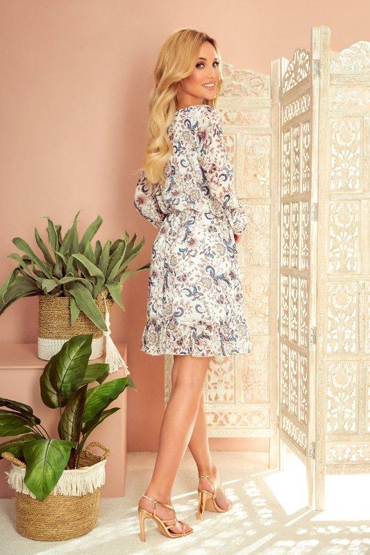 Bakari zwiewna szyfonowa sukienka z dekoltem - KWIATY na jasnym tle - 5