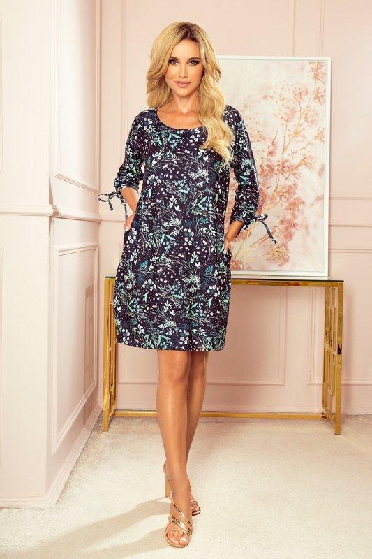 SOPHIE Wygodna sukienka Oversize - Miętowe liście na ciemnym tle - 3