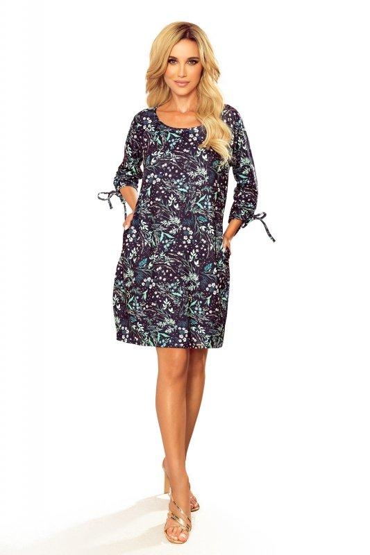 SOPHIE Wygodna sukienka Oversize - Miętowe liście na ciemnym tle - 6